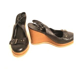 Preview International Black Leather Wedge